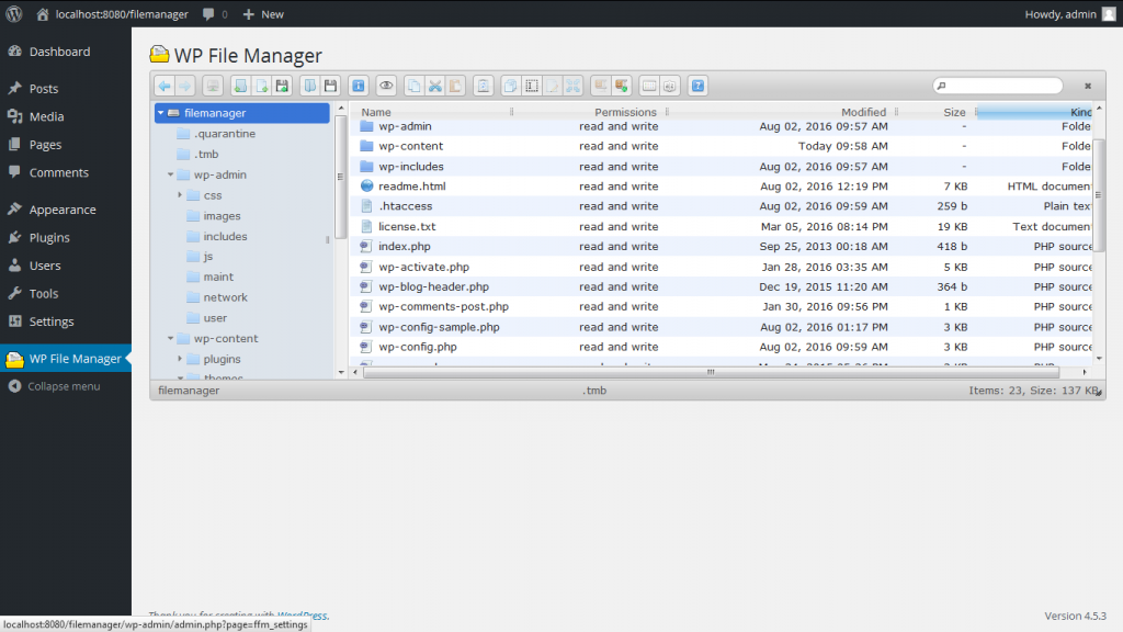 wordpress plugin file manager screenshot from wordpress.org