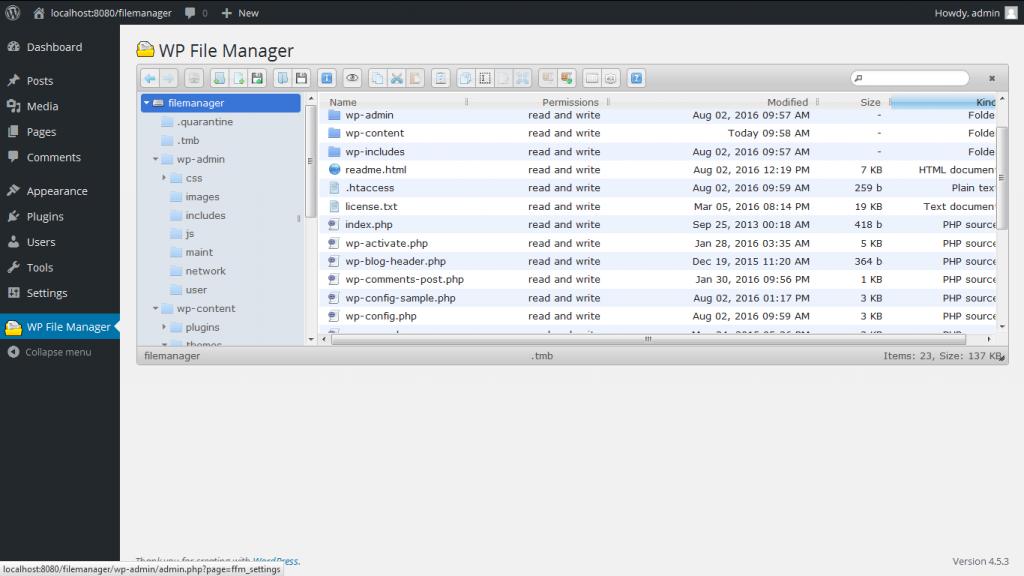 wordpress plugin file manager screenshot from wordpress.org