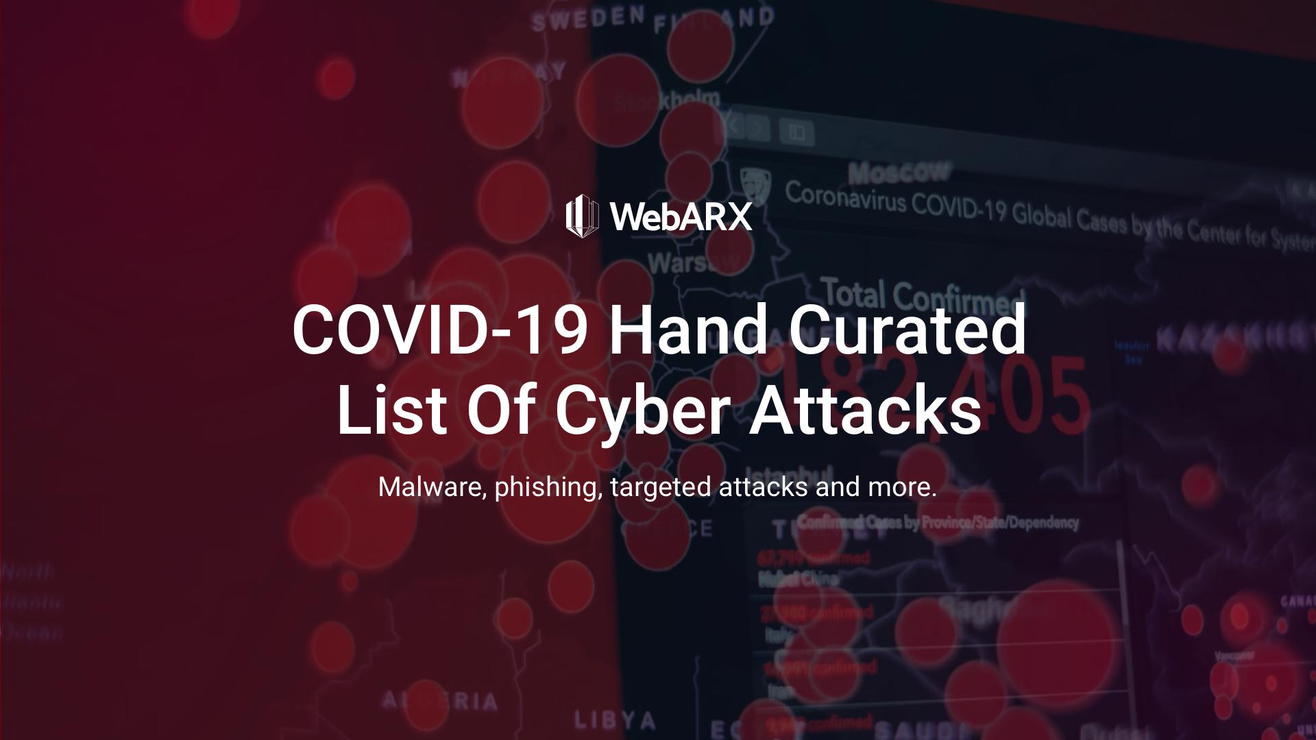 COVID-19 Cyber Attacks - WebARX Security